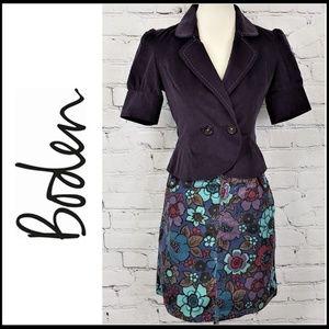 BODEN 5-Pkt Velvet Trimmed Floral Cord Mini Skirt